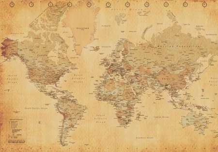 WORLD MAP antique style - P282