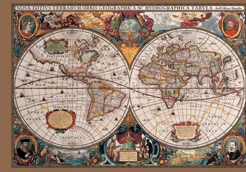 17th Century World Map (Gold Ink)