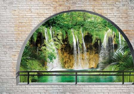 Waterfall arched window- For Wall