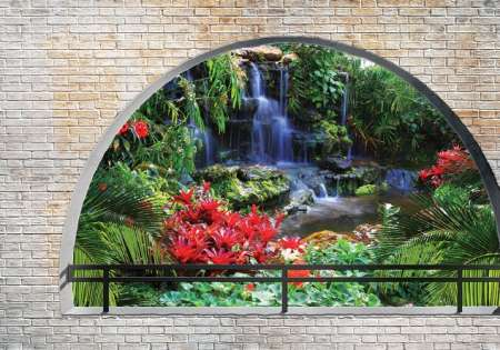 Forest waterfall arched window- For Wall
