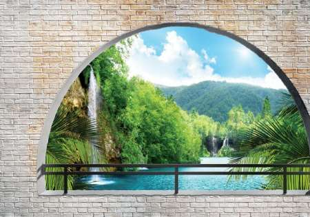 Lake arched window- For Wall